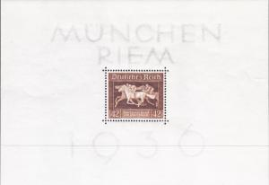Germany 1936 Horse Race Souviner Sheet  VF/NH(**)