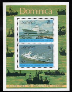 DOMINICA Scott 440a MNH** 1975 Ship souvenir sheet