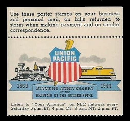 US 1944 Union Pacific Railroad Golden Spike 75th Anniversary Poster Stamp
