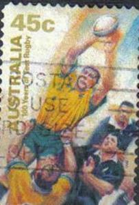 AUSTRALIA, 1999, used 45c. Lineout against New Zealand, Centenary of Australi...