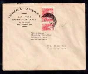 Bolivia 1939 La Paz Club cover + Bisect to Buenos Aires WS20959