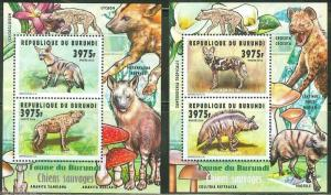 BURUNDI 2014 WILD DOGS SET OF TWO  COLLECTIVE SHEETS  MINT NH