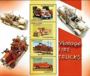 Sierra Leone MNH S/S Vintage Fire Trucks