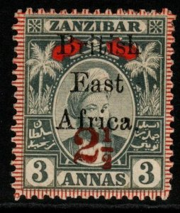 BRITISH EAST AFRICA SG90 1897 2½ on 3a GREY & RED MTD MINT