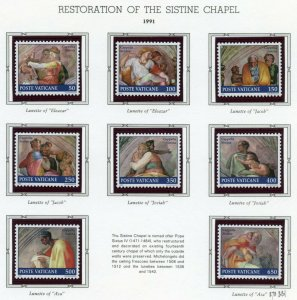 VATICAN CITY 1991  COMPLETE YEAR SET STAMPS WITH BOOKLET  MINT NH ON ALBUM PAGES