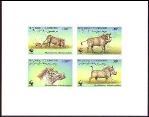 Djibouti WWF Eritrean Warthog De-Luxe Sheet Combo SG#1192-1195 MI#678-681 SC#795