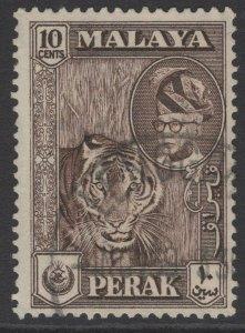 MALAYA PERAK SG155 1957 10c DEEP BROWN FINE USED