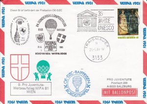 Austria 1981 UN-Vienna Special Balloon Flight for Children Fund. WIPA Stamp Show