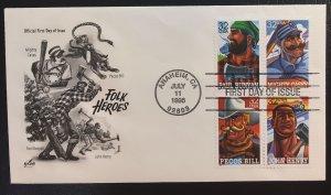 #3086a FDC Artcraft Folk Heroes - Paul Bunyan/Mighty Casey/Pecos Bill/John Henry