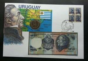 Uruguay General José Gervasio Artigas1980 FDC (banknote coin cover) 3 in1 *rare