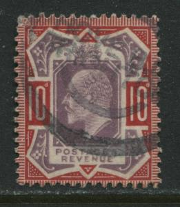 GB KEVII 1902 10d NO CROSS ON CROWN used with a parcel cancel.