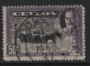 CEYLON, 273, USED, 1935-36, Wild Elephants