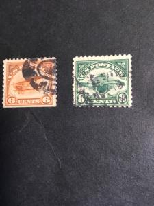 USA #C1 & C4 Used 2015 Cat. $45. Airmaila 6c SE A Bit Oxidized + 1923 8c GreenF