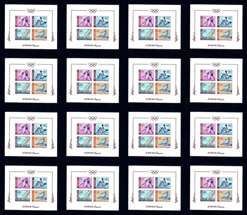 16 Ajman # 36b 1964 Olympics Imperforate NH Souvenir Sheets