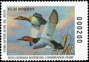 LOUISIANA #30/30A  2018 STATE DUCK STAMPS CANVASBACK by Tim Taylor