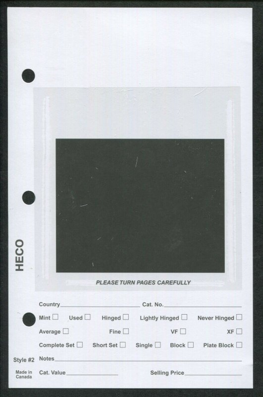 Pack of 100 HECO Dealer Stock Card Pages #2 for 3-Ring Mini Binder 5.5 x 8.5