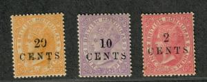 British Honduras Sc#22-24 M/H/F-VF, Partial Set, Cv. $117.50