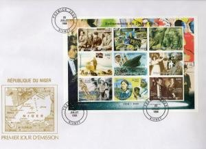 Niger 1998 Events 1910-1919 SPACE Sheet Imperforated in Official F.D.C.