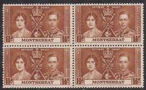 Montserrat 1937 KGV1 Coronation Block 4 Umm 1 1/2d SG 99 ( J1326 )