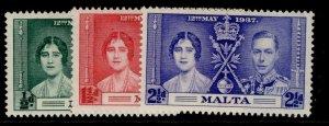 MALTA GVI SG214-216, CORONATION set, M MINT.