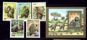 Benin 755-60 MNH 1995 Monkeys
