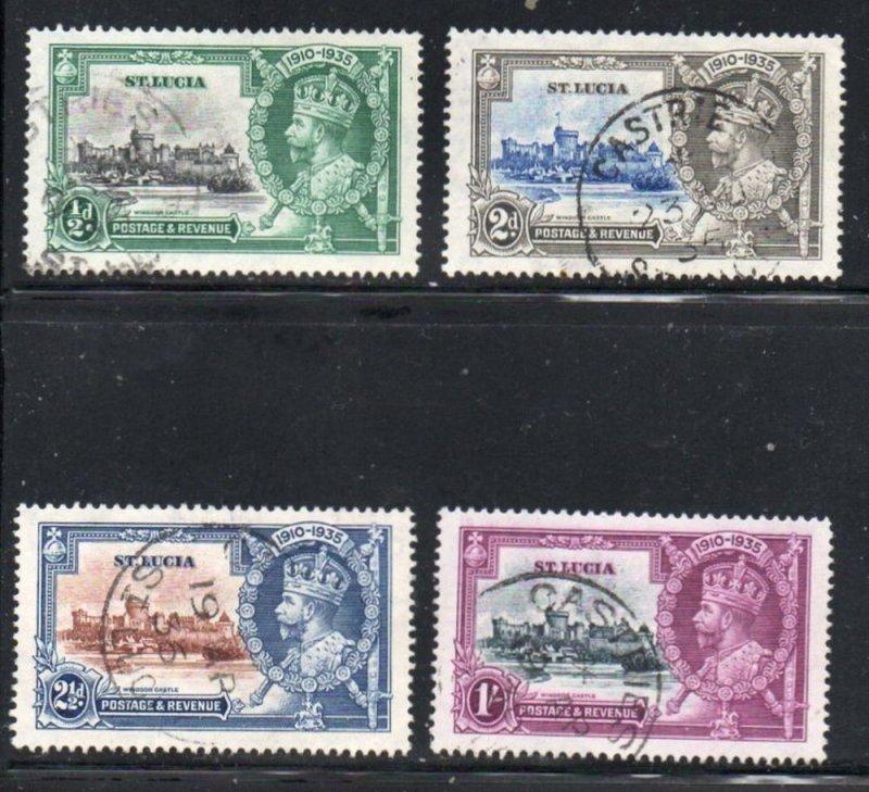 St Lucia Sc 91-94 1935 George V Silver Jubilee stamp set used