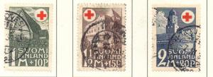 Finland Sc B5-7 1931 Red Cross, Buildings, stamp set used