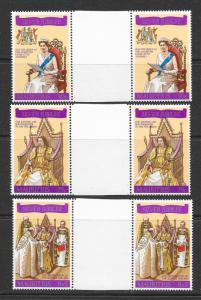 MAURITIUS Sc#433-435 Complete Gutter Pair Set Mint Never Hinged