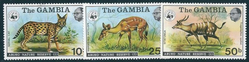 GAMBIA : P046 . 1976 3 mint pieces of set