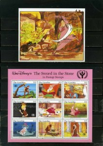 GAMBIA 1991 DISNEY THE SWORD IN THE STONE SHEET OF 9 STAMPS & S/S MNH