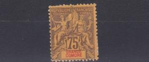FRENCH COLONIES GRAND COMORO 1897 75C   BROWN/ORANGE MH  OLD HINGE REMAINS