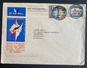 1934 Capetown South Africa Flight Flight Airmail Cover to Camooweal Australia