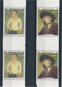 [I2669] Monaco 1981paintings in pair good set of stamp very fine MNH VALUE $24