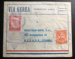 1933 Paraguay LZ 127 Graf Zeppelin Airmail Cover FFC To Milan Italy Via Germany