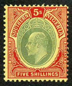 SOUTHERN NIGERIA SG42 1907-11 5/- green and red/yellow fresh M/M