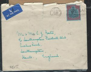 BERMUDA (P2906B) 1952  KGVI 2/6 KEYPLATE SINGLE A/M FRANK TO ENGLAND