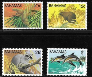 Bahamas Wildlife Series II set of 1982, Scott 514-517 MNH