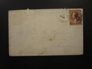US 1886 Cover / K Illinois CDS / Chiney Nebraska Back Stamp - Z5705