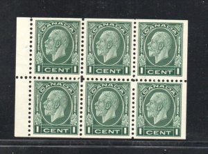 Canada Sc 195b 1935 1c G V Medallion stamp booklet pane of 6 mint NH