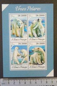 St Thomas 2013 polar bears animals m/sheet mnh