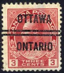 Canada Precancel Sc# 3-109 (Ottawa) Used 1911-1931 3¢ KGV Admirals