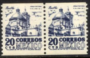 MEXICO 1003(2) 20c, 1950 DEFINITIVE ISSUE, COIL PAIR, MNH. VF.