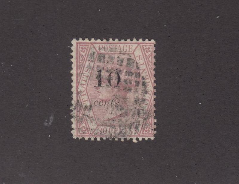 STRAITS SETTLEMENTS # 27A LIGHT USED CAT VALUE $500+