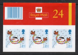 Great Britain Sc 2002a 2001 Christmas 2nd stamp booklet mint NH
