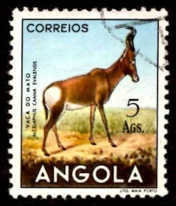 Angola 1953 African Hartebeest Wild Animals 5a Scott.376 Used (#1)