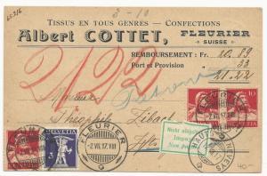 Switzerland Scott #167 x3 #156 on Letter Card Cover July 2, 1917