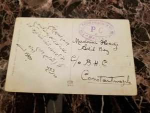 1918 Malta Prisoner of War POW Censored Postcard cover to Turkey PC 5