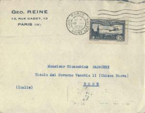 France 1.50F Plane Over Marseille 1936 Paris, Gare Saint Lazare to Rome, Ital...