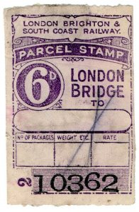 (I.B) London Brighton & South Coast Railway : Parcel Stamp 6d (London Bridge)