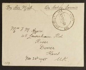 1945 India to Dover England 184 Wing Royal Air Force RAFPOST 153 Air Mail Cover